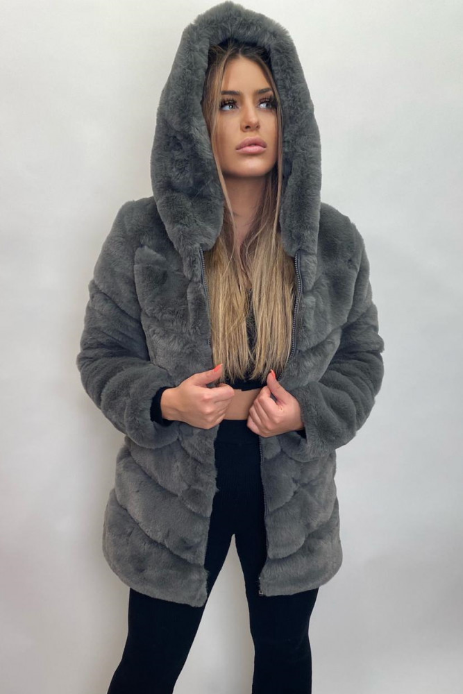 Fake-Fur-Coat mit Kapuze